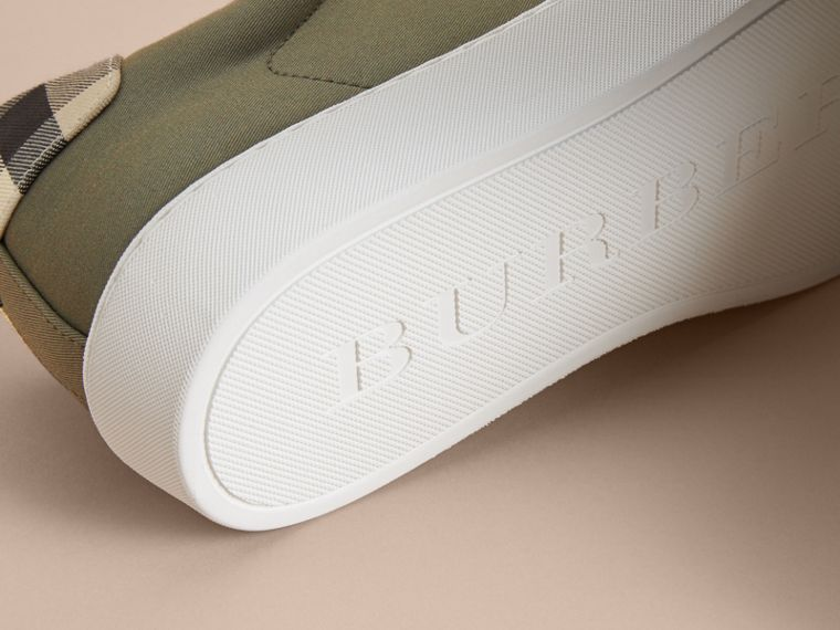 Check Detail Cotton Trainers in Oregano - Women | Burberry - cell image 4
