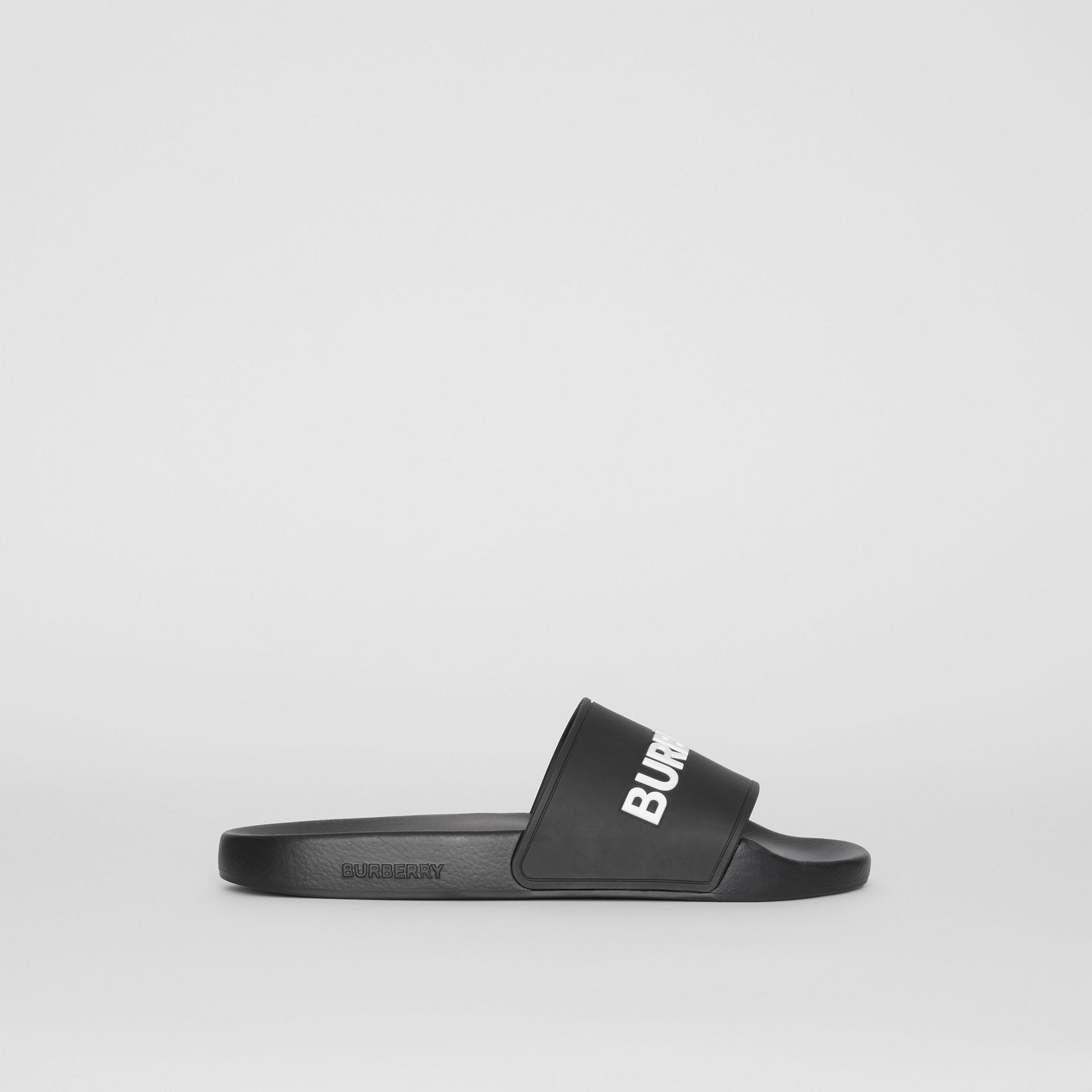 Kingdom Motif Slides in Black/optic White - Men | Burberry - gallery image 5