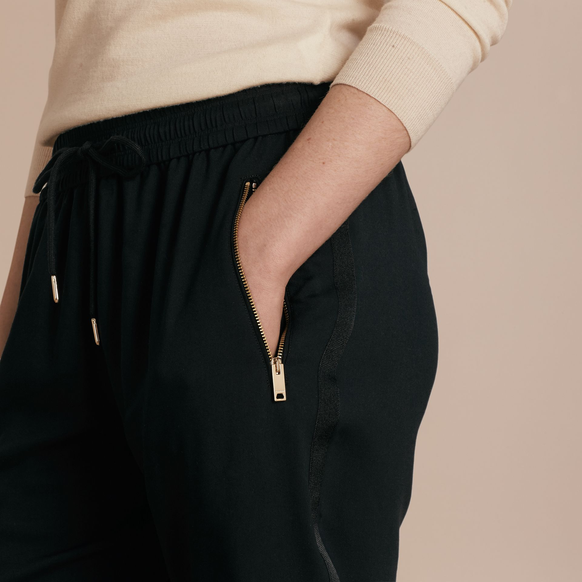 Zip Detail Jersey Sweat Pants Black - gallery image 5