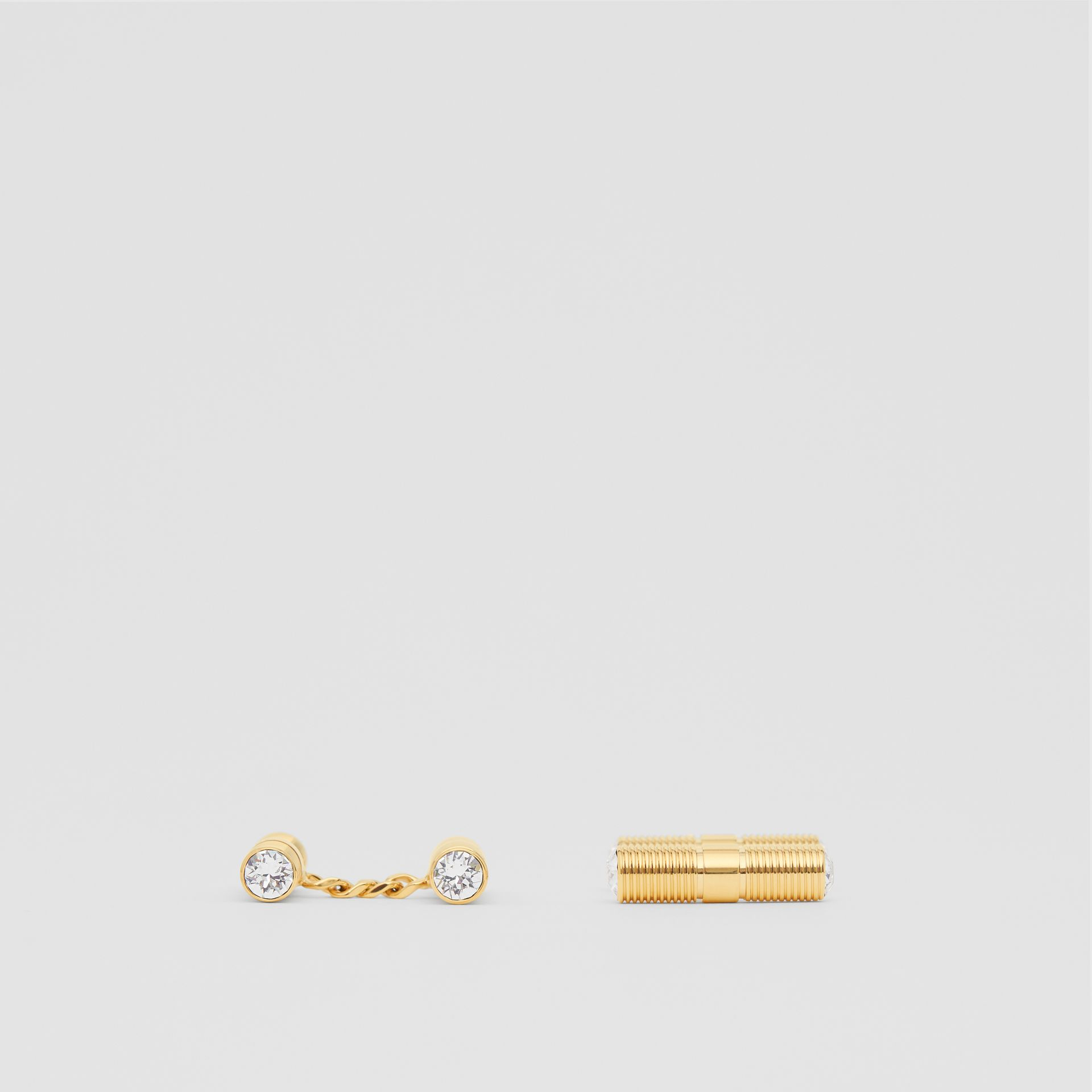 Crystal Gold-plated Bolt Chain-link Cufflinks in Light - Men | Burberry - gallery image 1