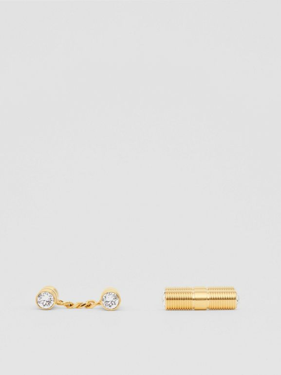 Crystal Gold-plated Bolt Chain-link Cufflinks in Light - Men | Burberry - cell image 1