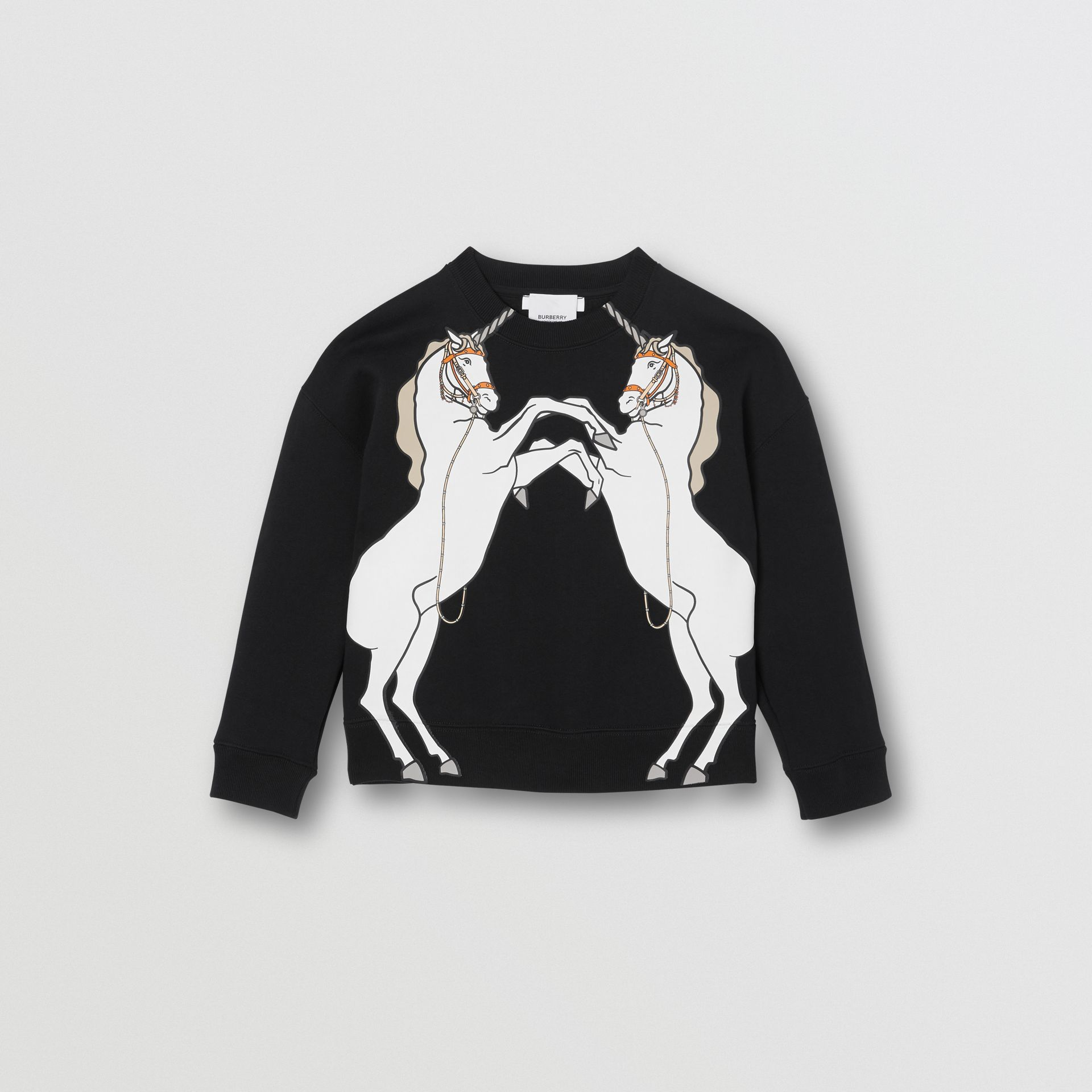 Unicorn Print Cotton Jersey Sweatshirt in Black | Burberry - gallery image 0