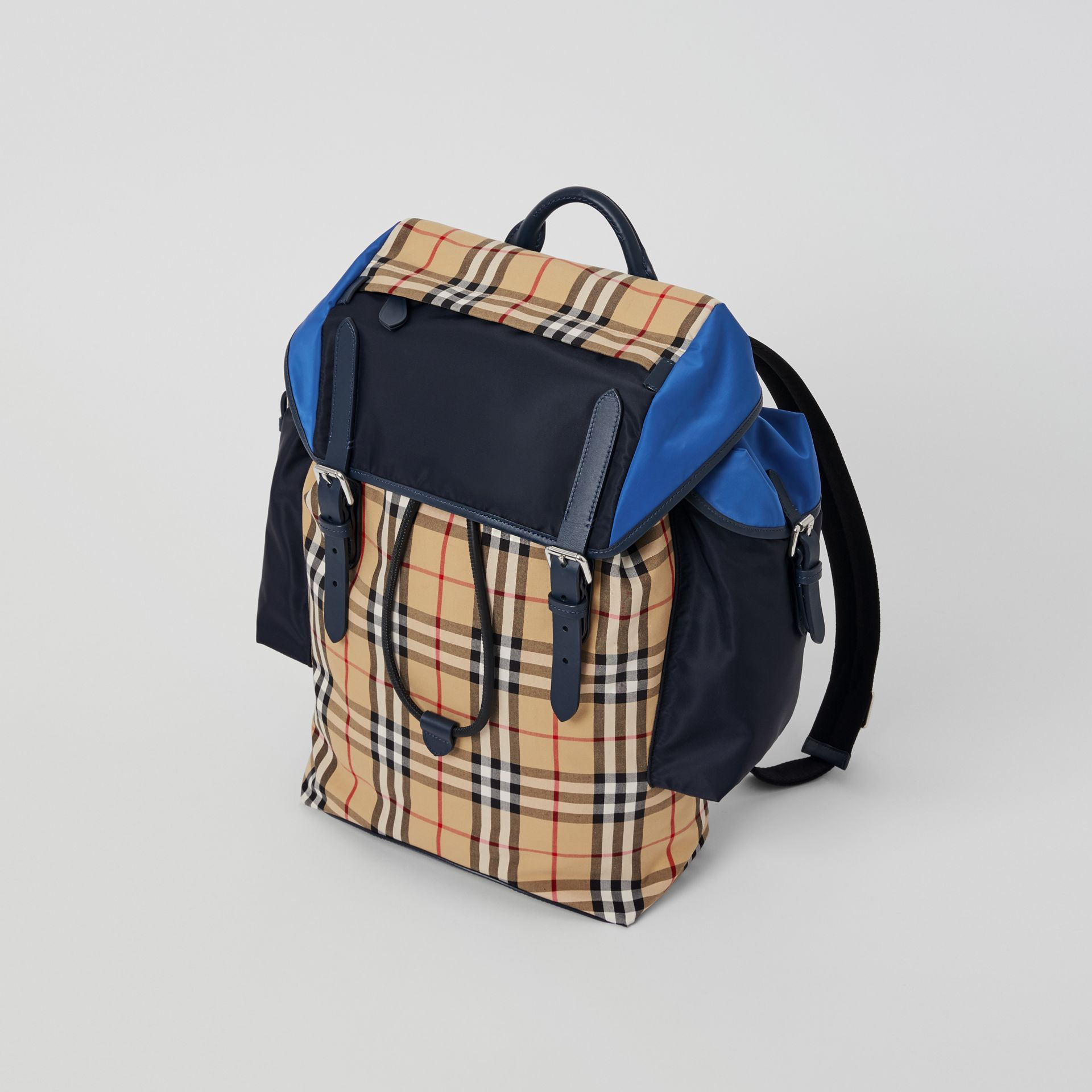 Colour Block Vintage Check and Leather Backpack in Navy - Men | Burberry - gallery image 4