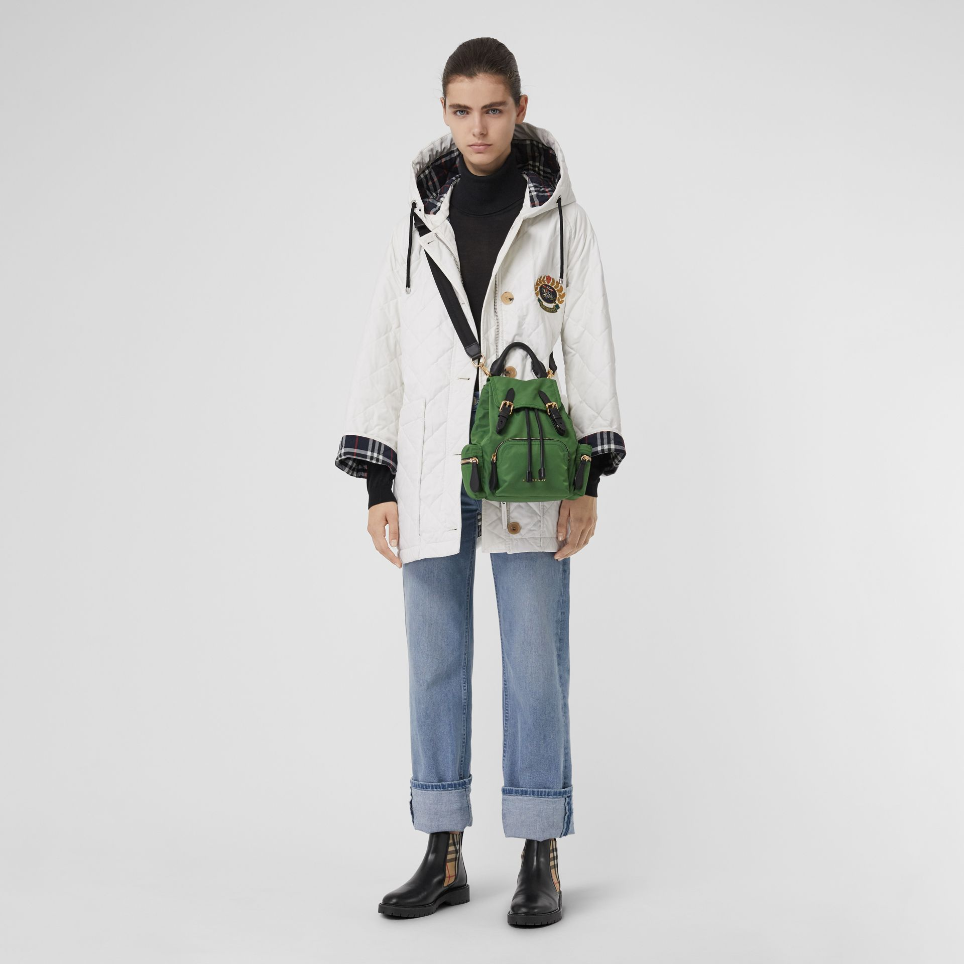 The Small Crossbody Rucksack in Nylon in Racing Green - Women | Burberry United Kingdom - gallery image 2