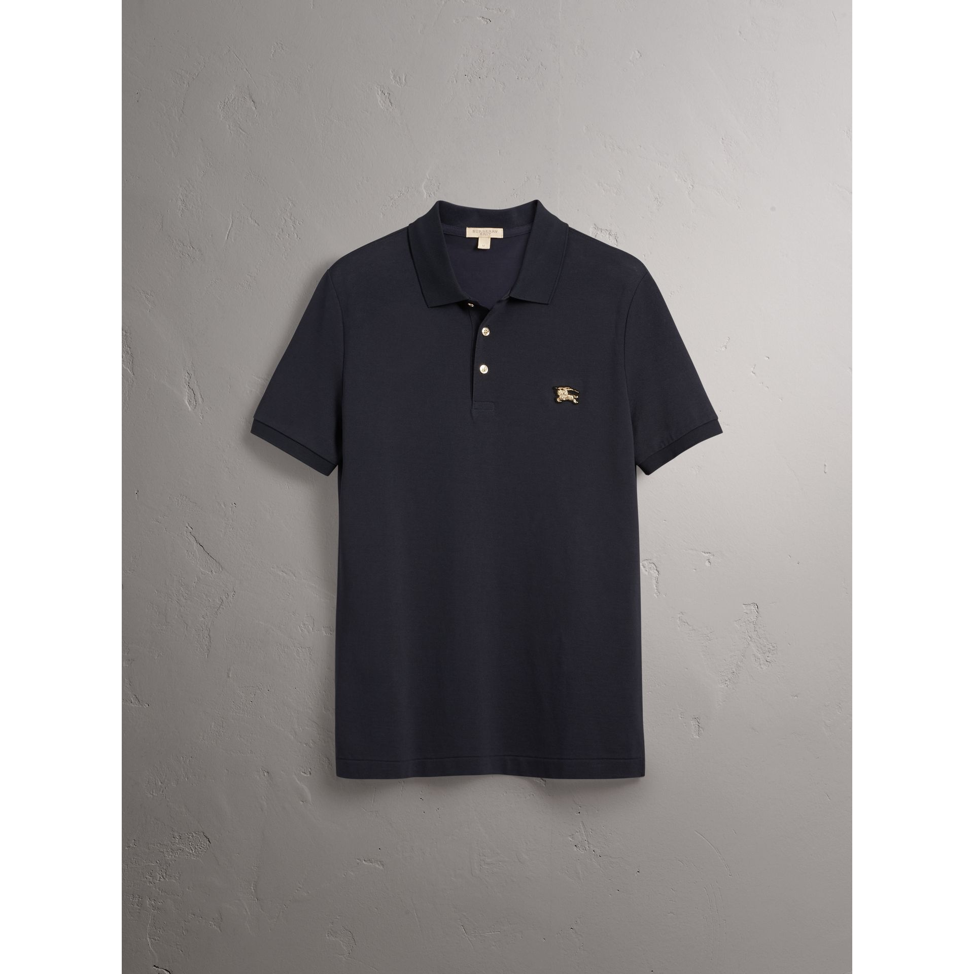 Cotton Piqué Polo Shirt in Navy - Men | Burberry United Kingdom - gallery image 3
