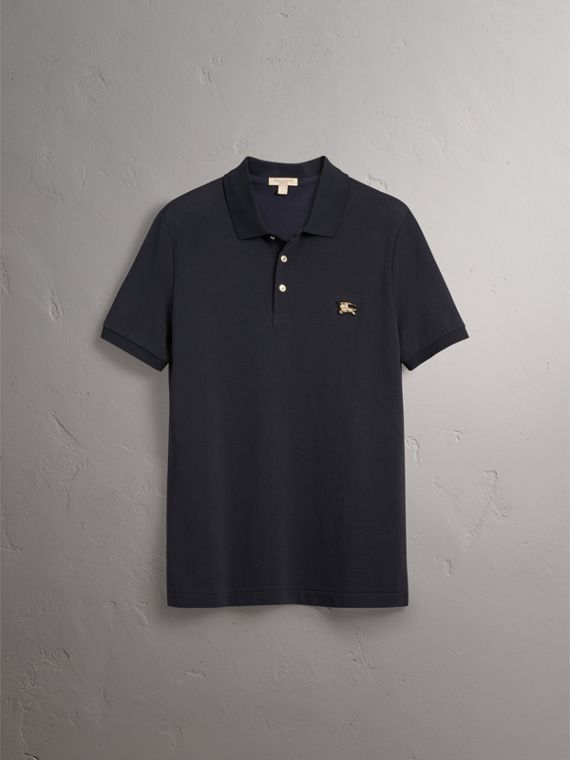 Cotton Piqué Polo Shirt in Navy - Men | Burberry United Kingdom - cell image 3