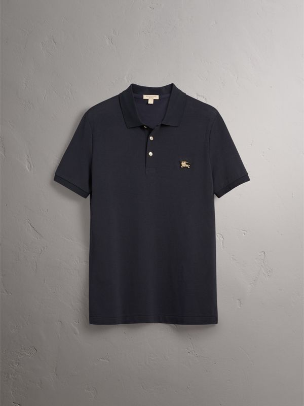 Cotton Piqué Polo Shirt in Navy - Men | Burberry United States - cell image 3