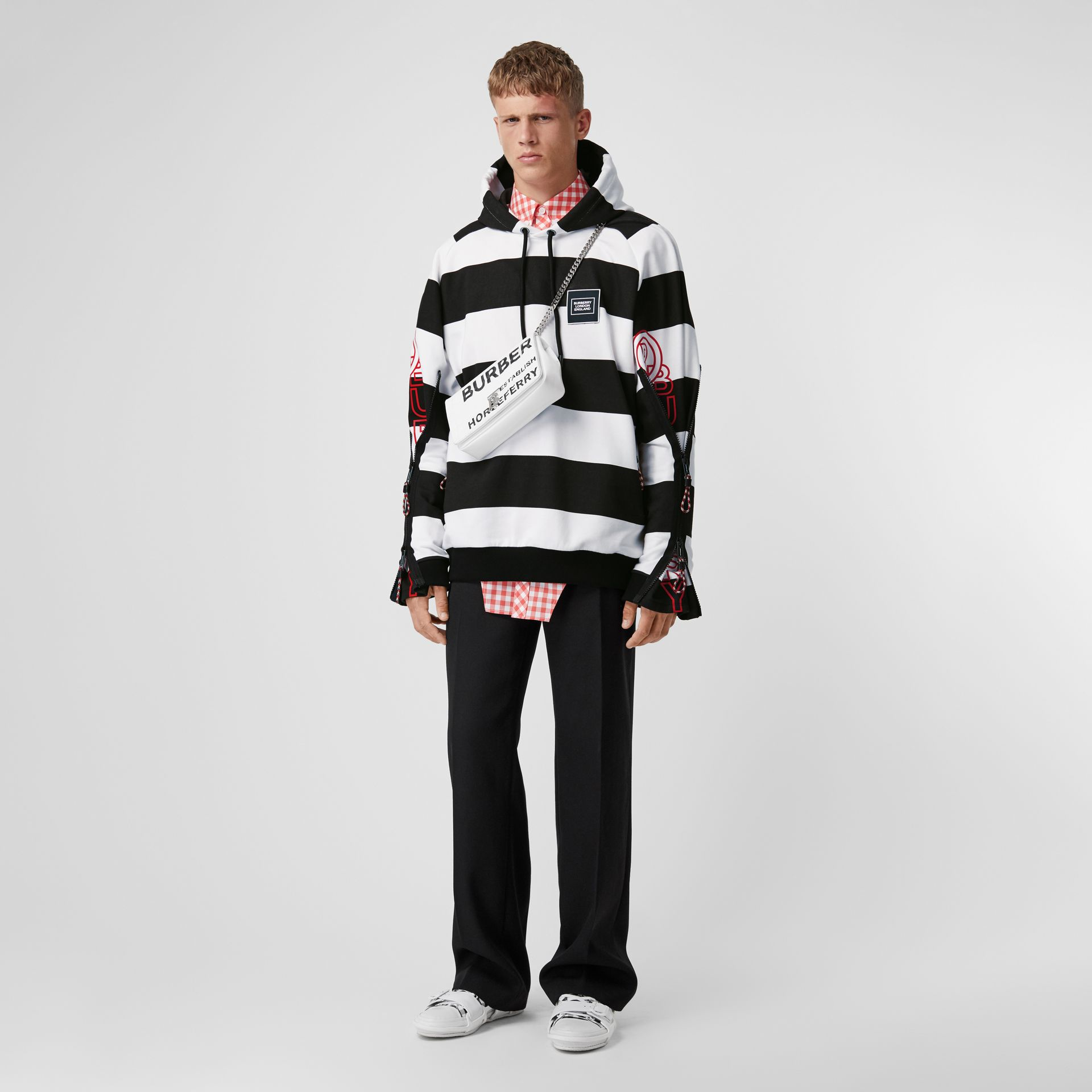 Zip Detail Logo Print Striped Cotton Hoodie in Black/white | Burberry - gallery image 5