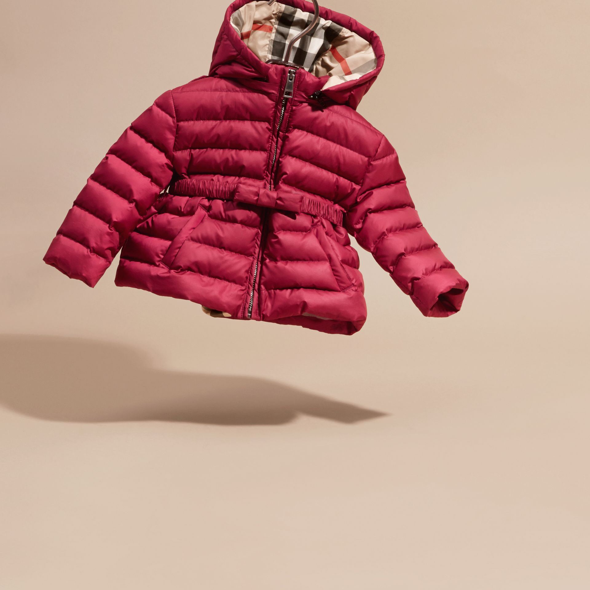 Dark plum pink Bow Detail Puffer Jacket - gallery image 3