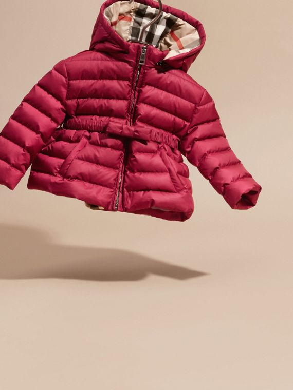 Dark plum pink Bow Detail Puffer Jacket - cell image 2