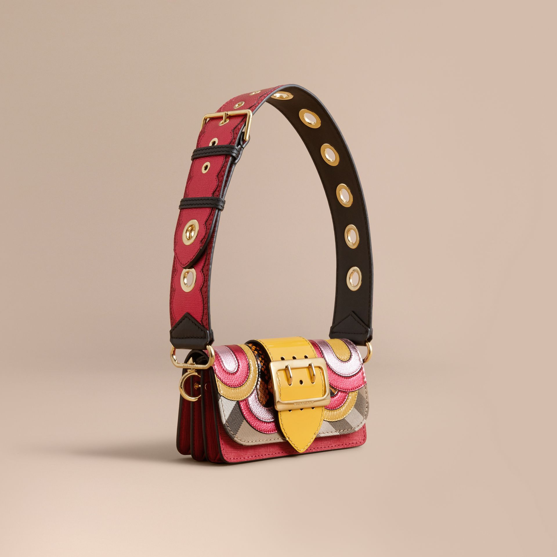The Small Buckle Bag in House Check and Leather Bright Pink - gallery image 1