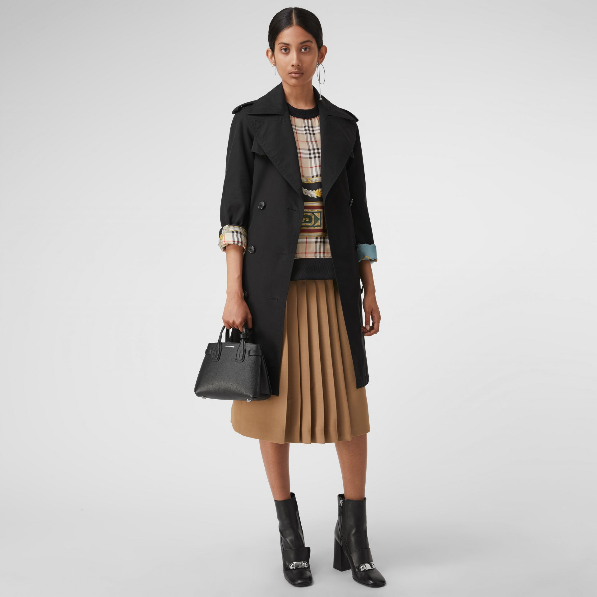 The Baby Banner in Leather and Vintage Check in Black - Women | Burberry Singapore - gallery image 2