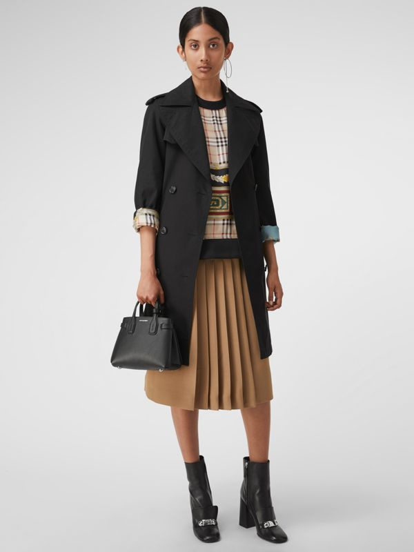 The Baby Banner in Leather and Vintage Check in Black - Women | Burberry Australia - cell image 2