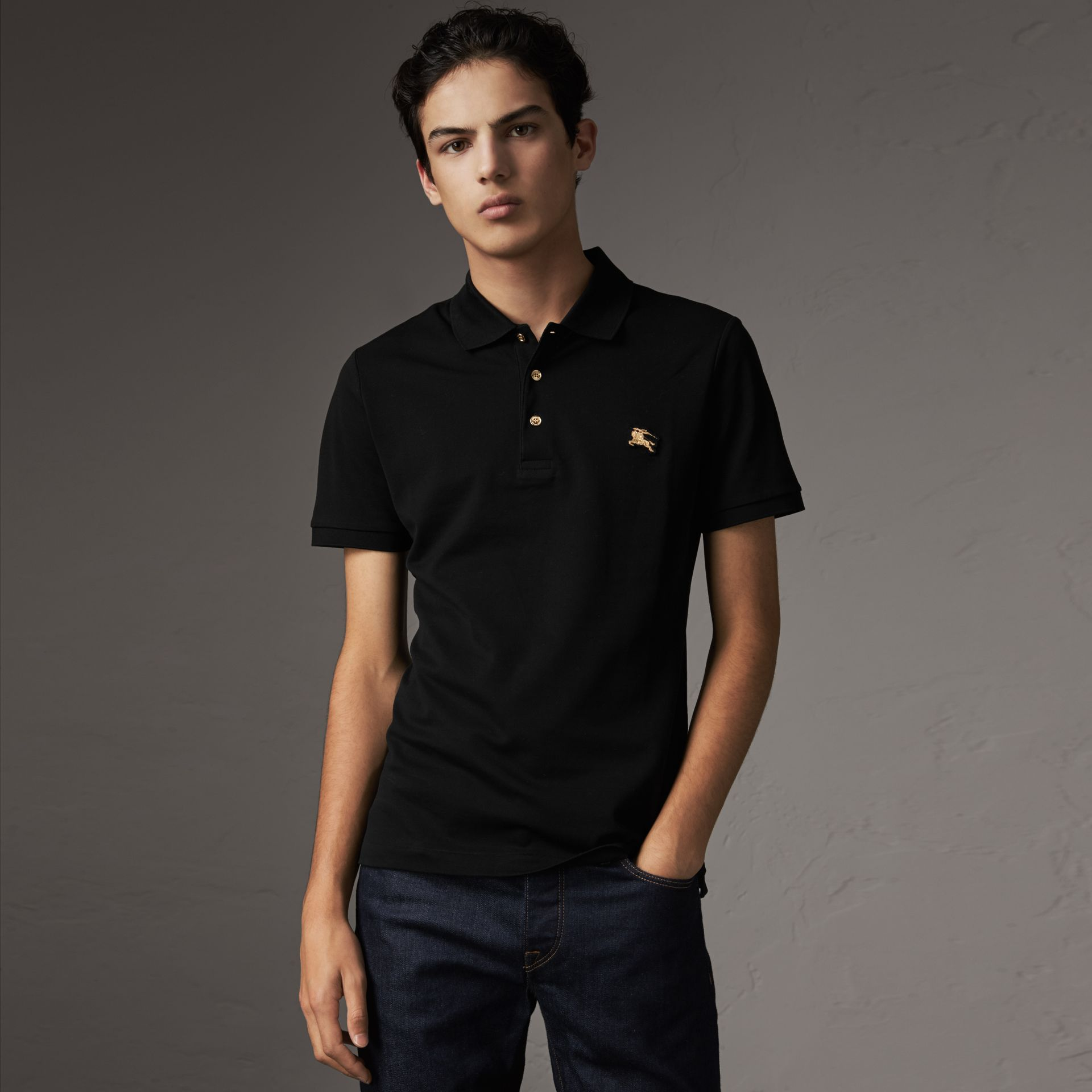 Cotton Piqué Polo Shirt in Black - Men | Burberry - gallery image 0