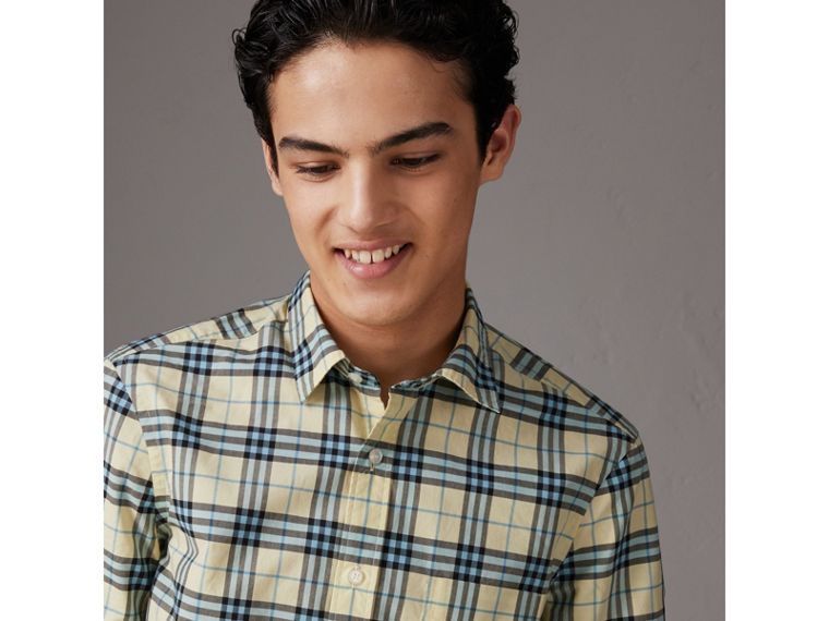 Short-sleeve Check Cotton Shirt in Chalk Yellow - Men | Burberry United Kingdom - cell image 1