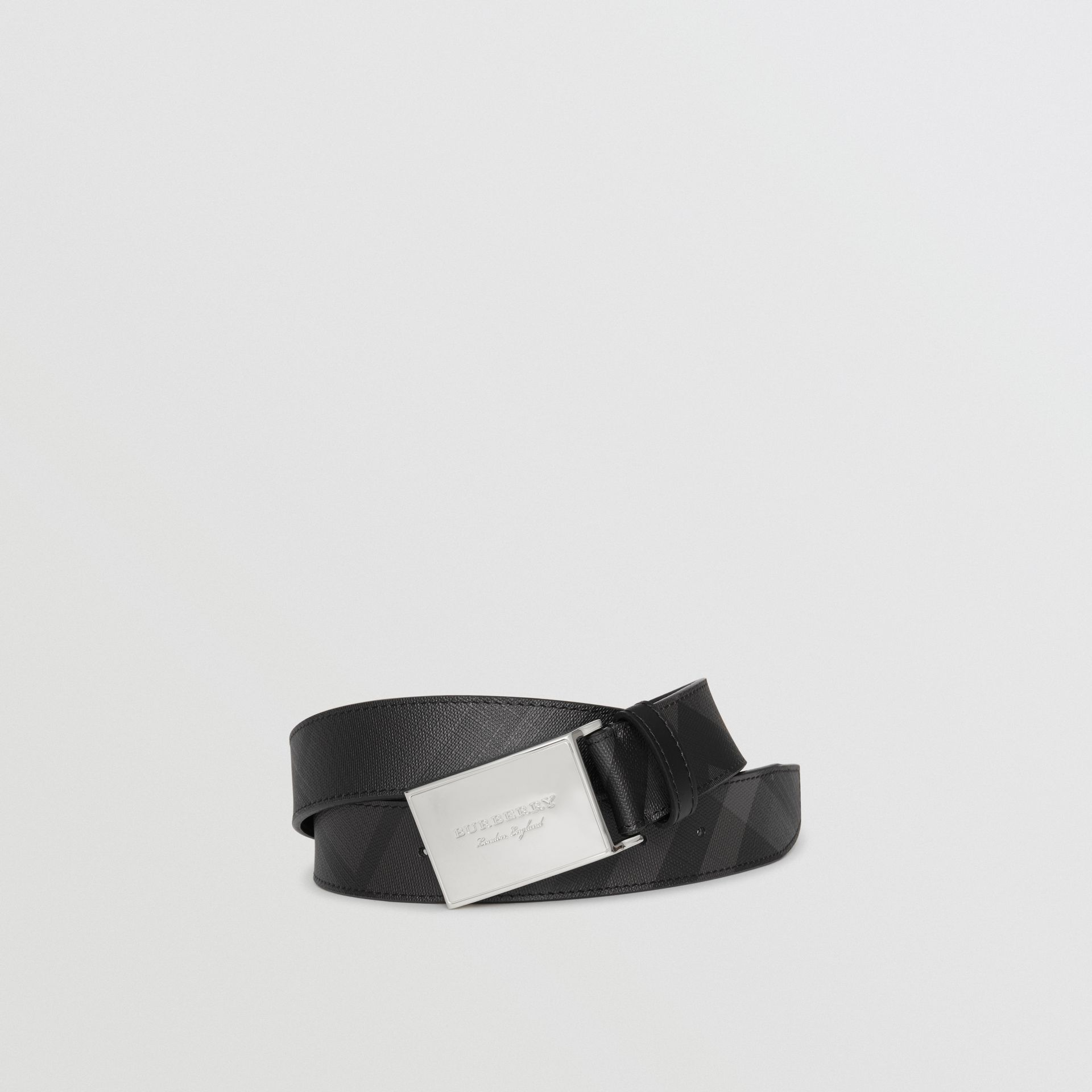 Plaque Buckle London Check  and Leather Belt in Charcoal/black - Men | Burberry Australia - gallery image 0
