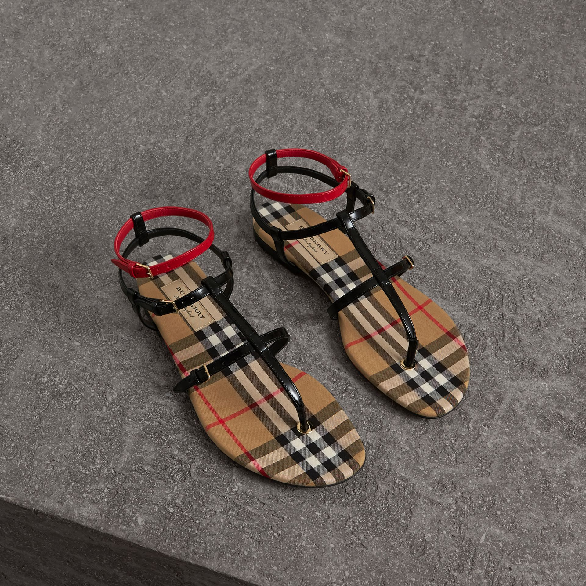 Vintage Check and Leather Sandals in Black - Women | Burberry - gallery image 0