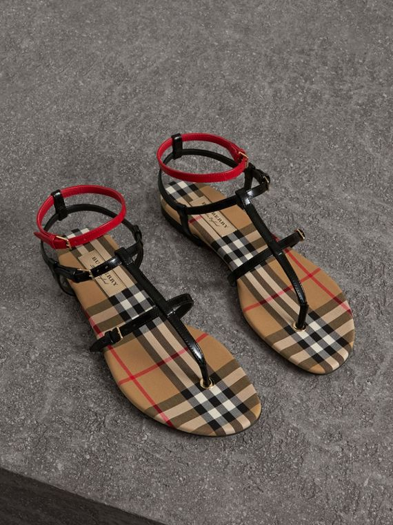 Vintage Check and Leather Sandals in Black