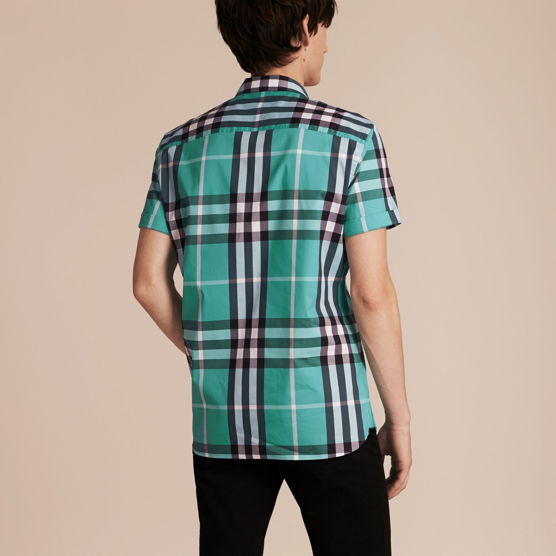 Short-sleeved Check Stretch Cotton Shirt in Cyan Green - Men | Burberry Canada - gallery image 3