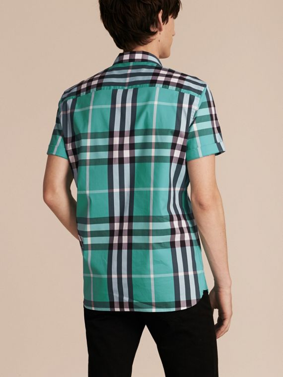 Short-sleeved Check Stretch Cotton Shirt in Cyan Green - Men | Burberry - cell image 2