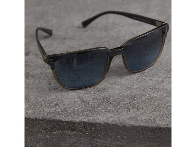 Square Frame Sunglasses in Navy - Men | Burberry United States - cell image 1