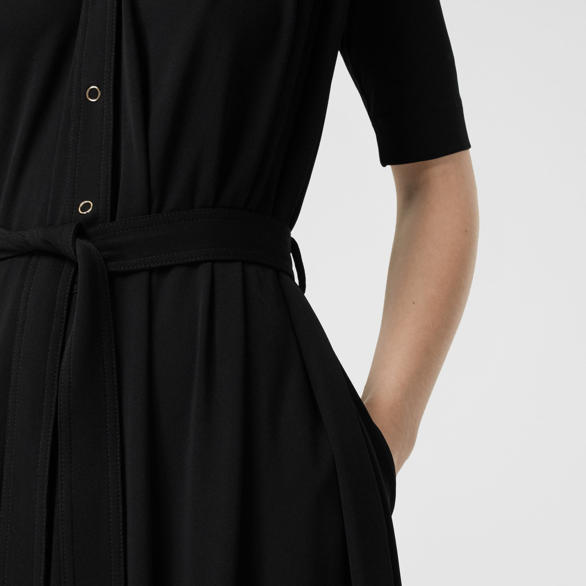 Short-sleeve Gathered Jersey Dress in Black - Women | Burberry - gallery image 4