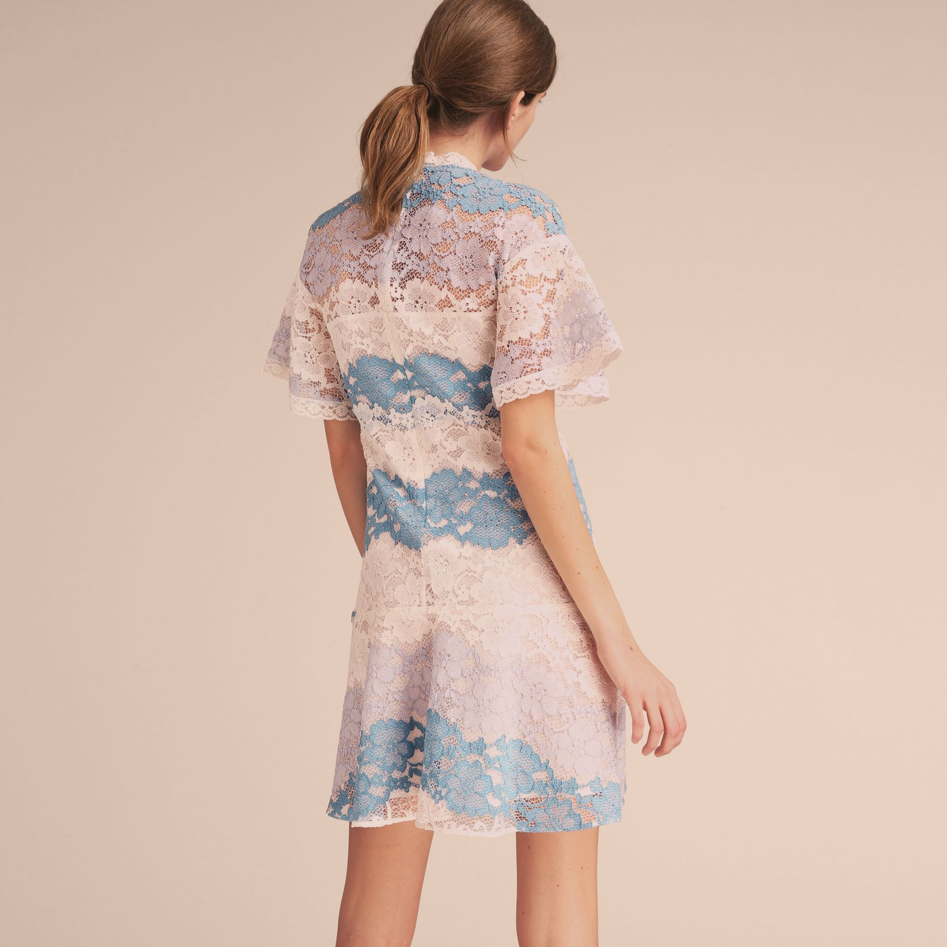 Floral Lace Dress with Flutter Sleeves in Slate Blue - gallery image 3