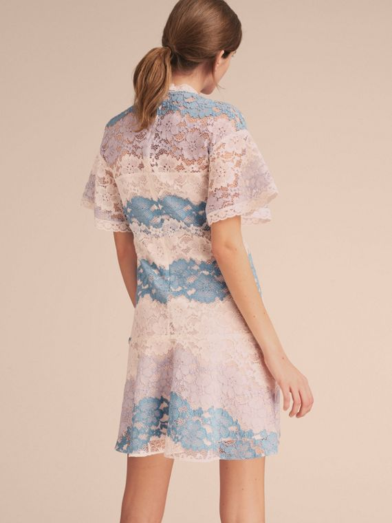 Floral Lace Dress with Flutter Sleeves Slate Blue - cell image 2
