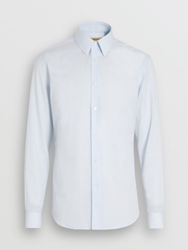 Slim Fit Striped Cotton Poplin Dress Shirt in City Blue - Men | Burberry - cell image 3