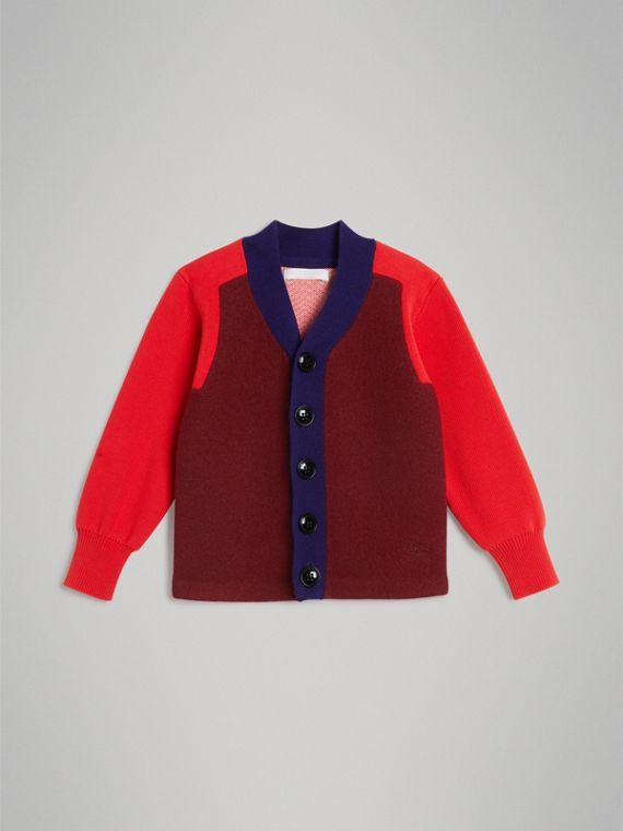 Colour Block Merino Wool Blend Cardigan in Burgundy