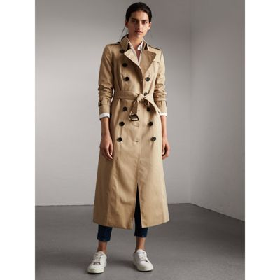 Long Cotton Gabardine Trench Coat in Honey - Women | Burberry