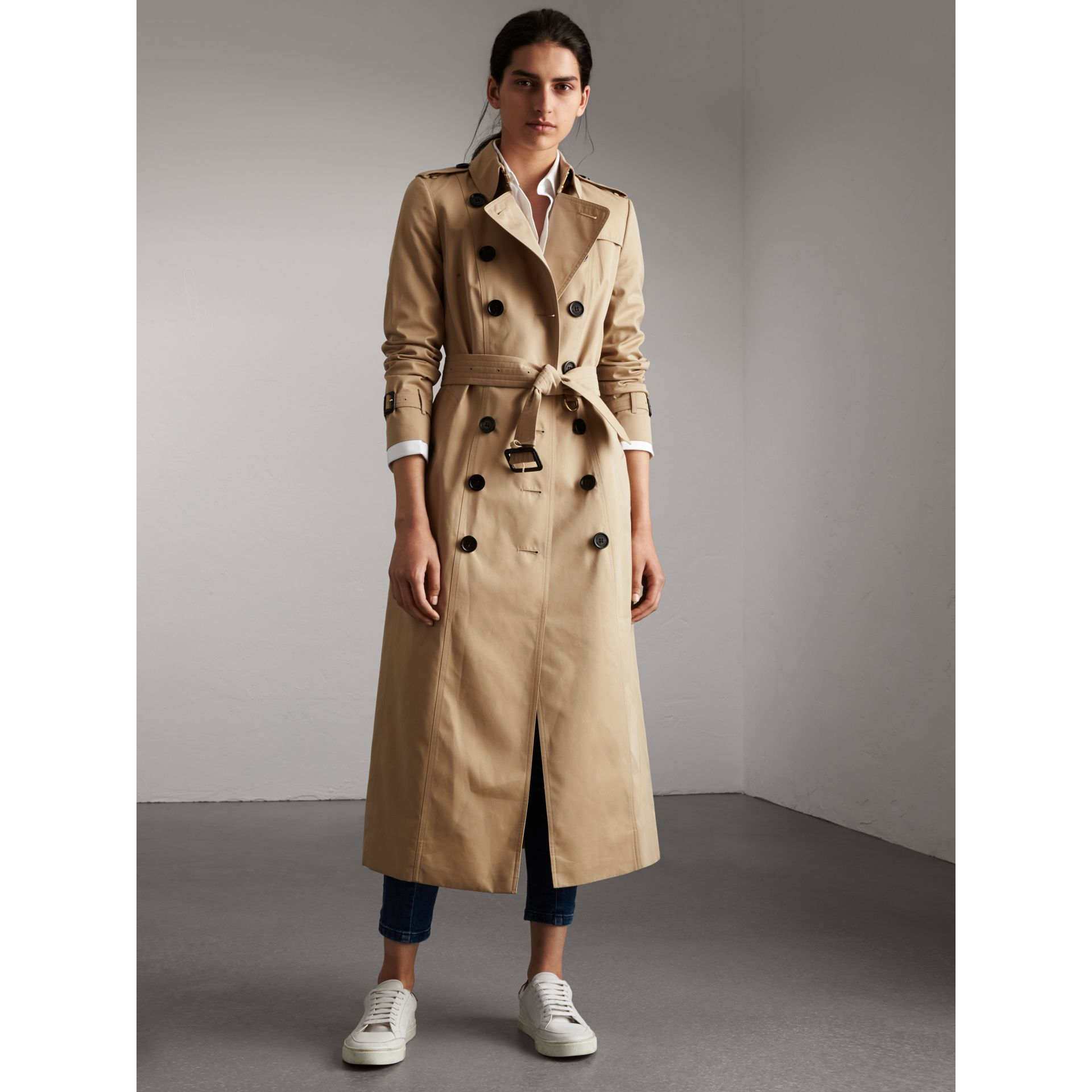 Long Cotton Gabardine Trench Coat in Honey - Women | Burberry ...