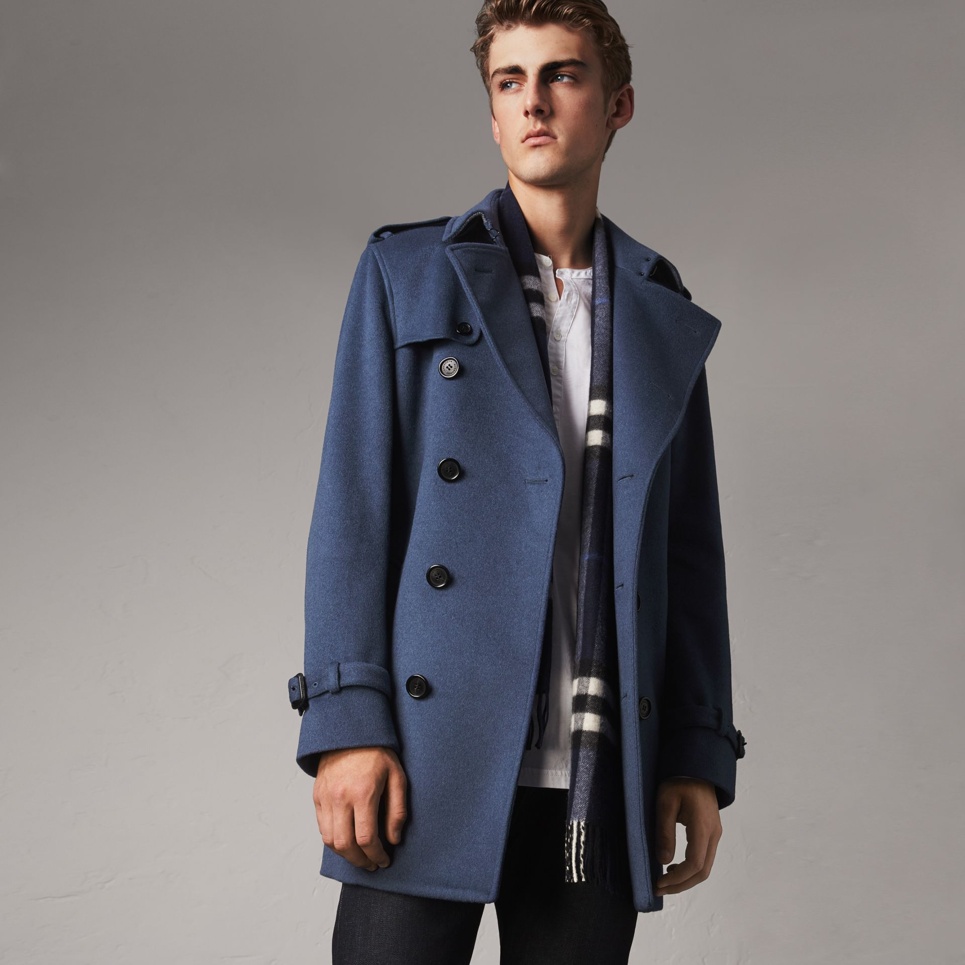 Wool Cashmere Trench Coat in Dark Canvas Blue - Men | Burberry United Kingdom - gallery image 0