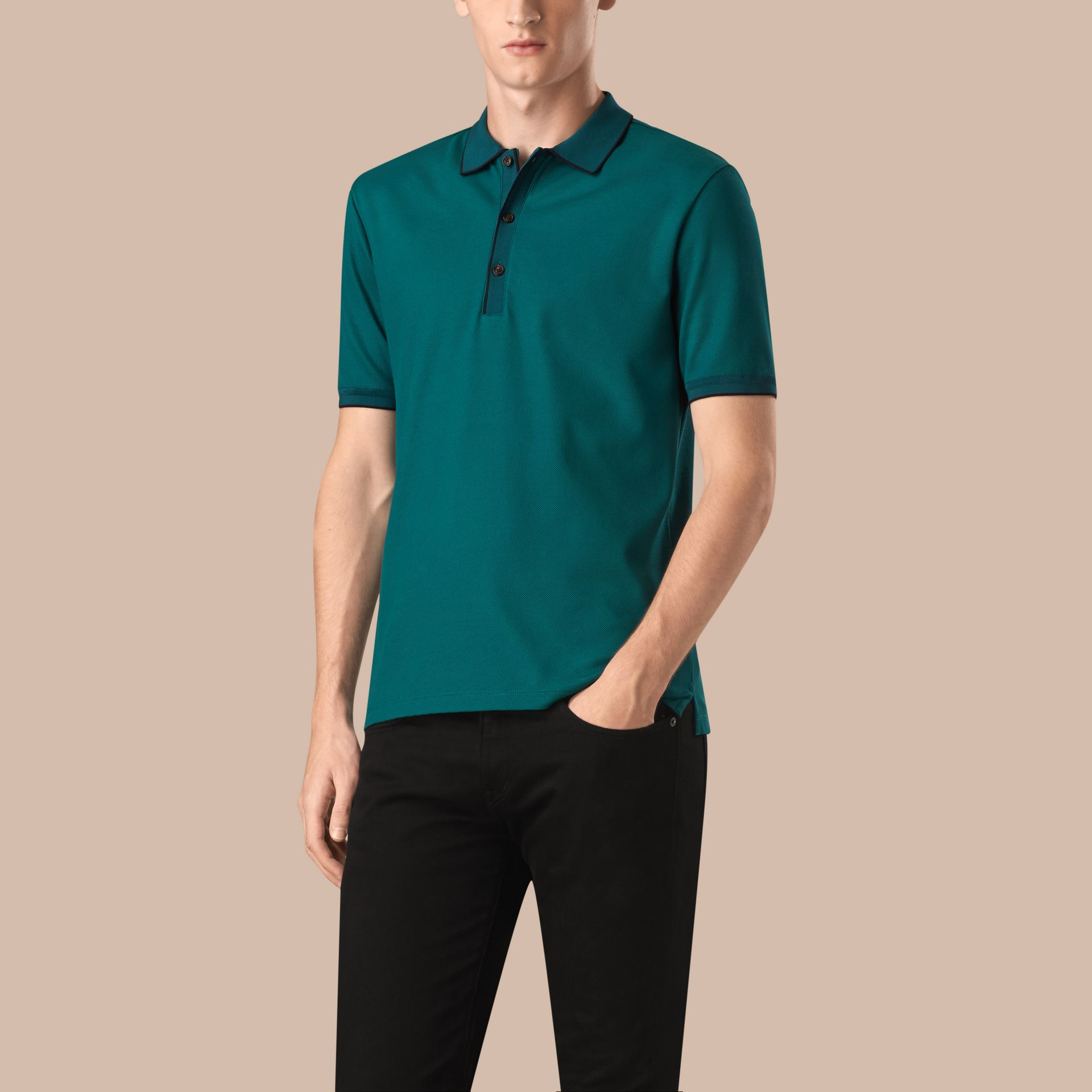 Dark teal/navy Contrast Tipping Cotton Piqué Polo Shirt Dark Teal/navy - gallery image 1