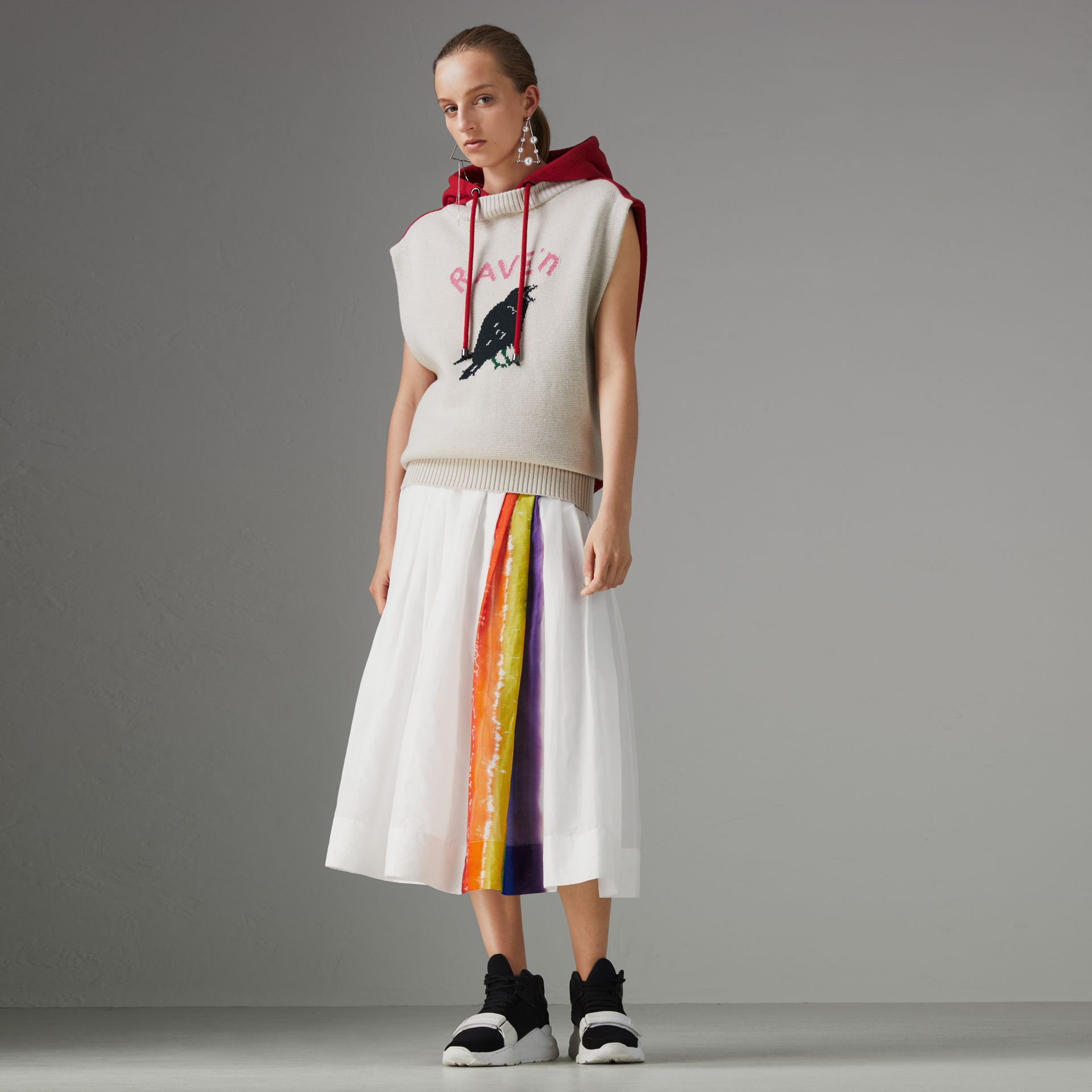 Rainbow Print Organdie Cotton Skirt - Women | Burberry Australia - gallery image 0