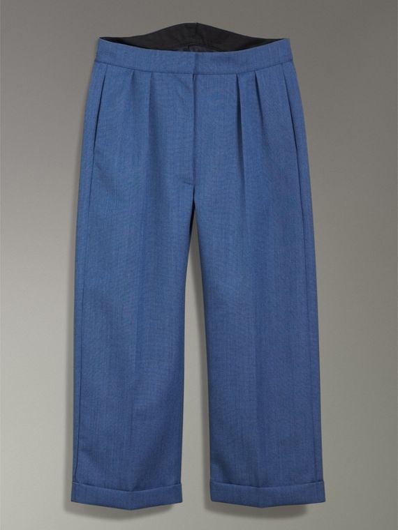 Wool Mohair Cropped Tailored Trousers in Bright Navy - Women | Burberry Singapore - cell image 3