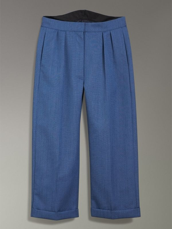 Wool Mohair Cropped Tailored Trousers in Bright Navy - Women | Burberry United Kingdom - cell image 3