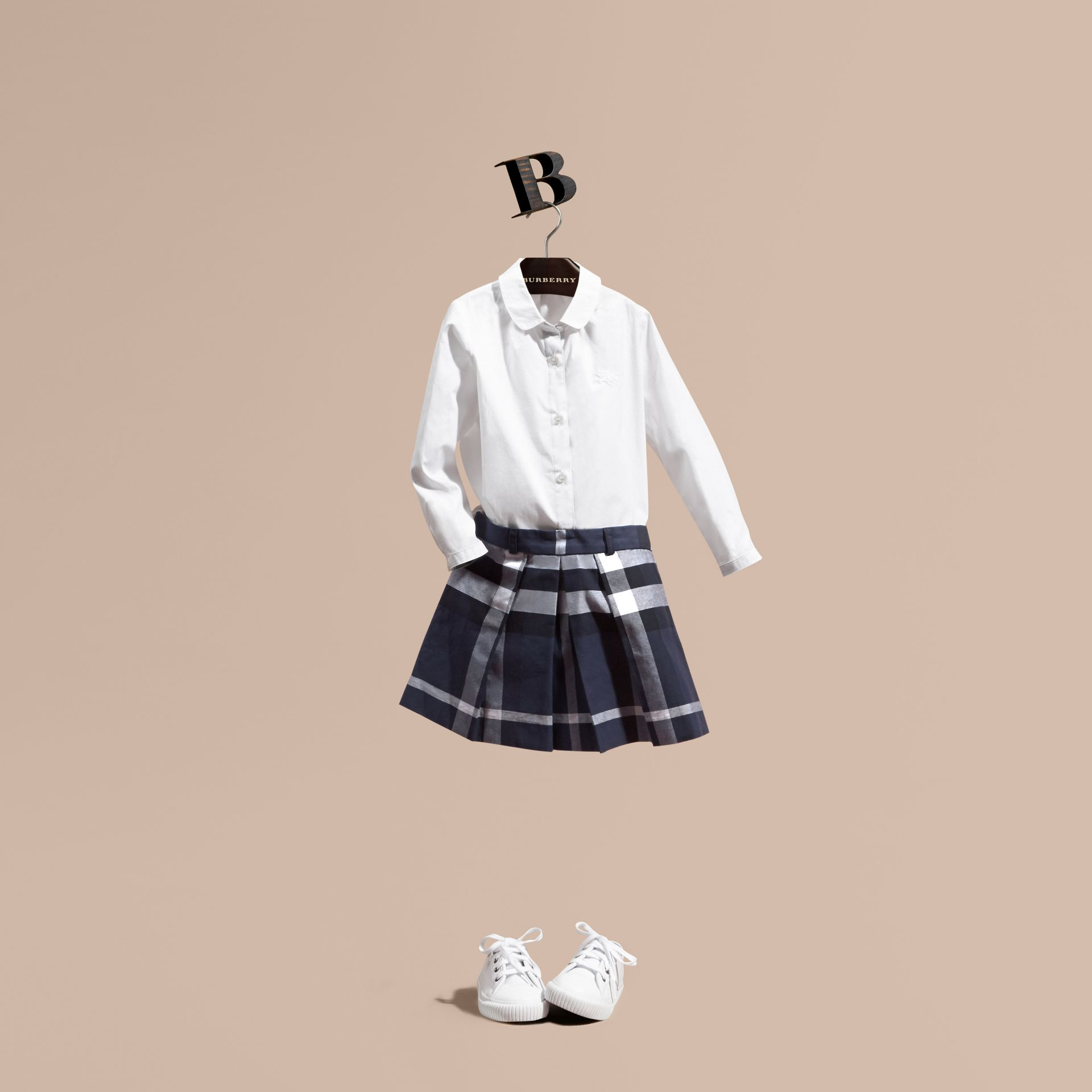 Pleated Check Cotton Skirt - Girl | Burberry - gallery image 1