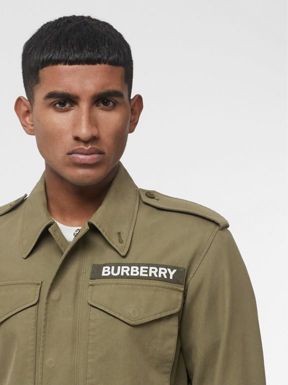 Logo Detail Cotton Field Jacket in Olive - Men | Burberry - cell image 1