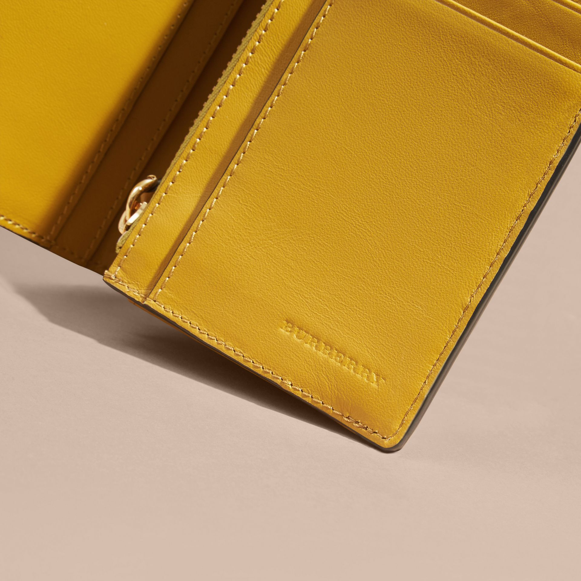 London Check and Leather Continental Wallet in Larch Yellow - gallery image 2