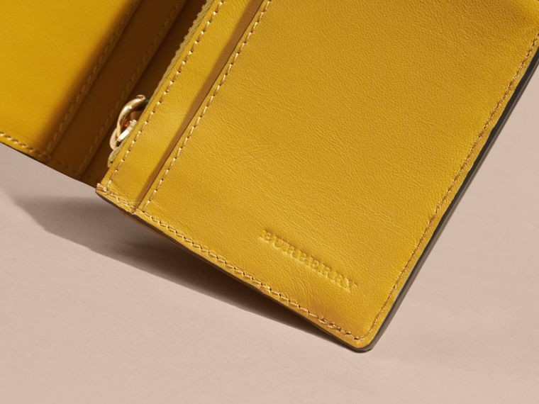 London Check and Leather Continental Wallet in Larch Yellow - cell image 1
