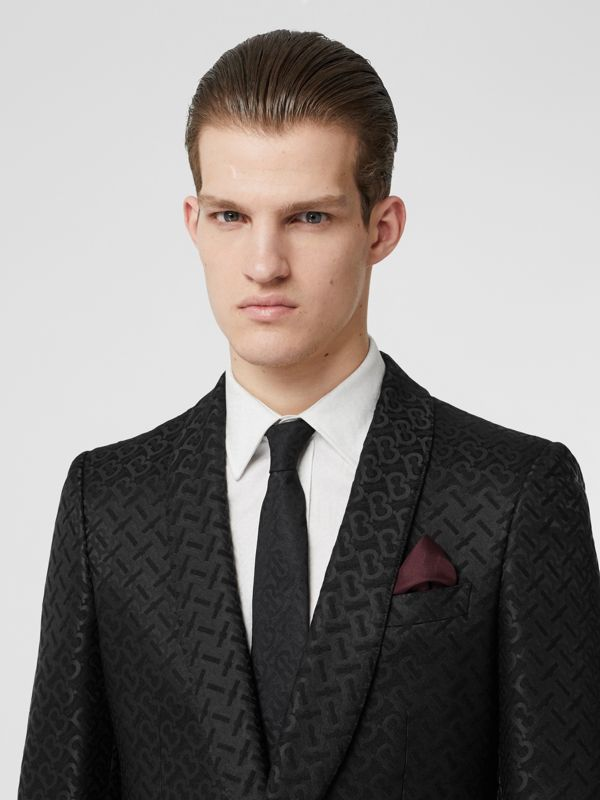 Classic Cut Monogram Silk Jacquard Tie in Black - Men | Burberry Australia - cell image 2