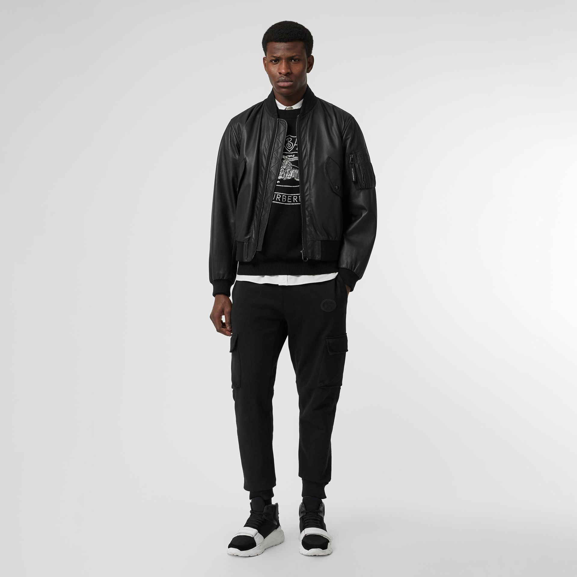 Lambskin Bomber Jacket in Black - Men | Burberry United States - gallery image 0
