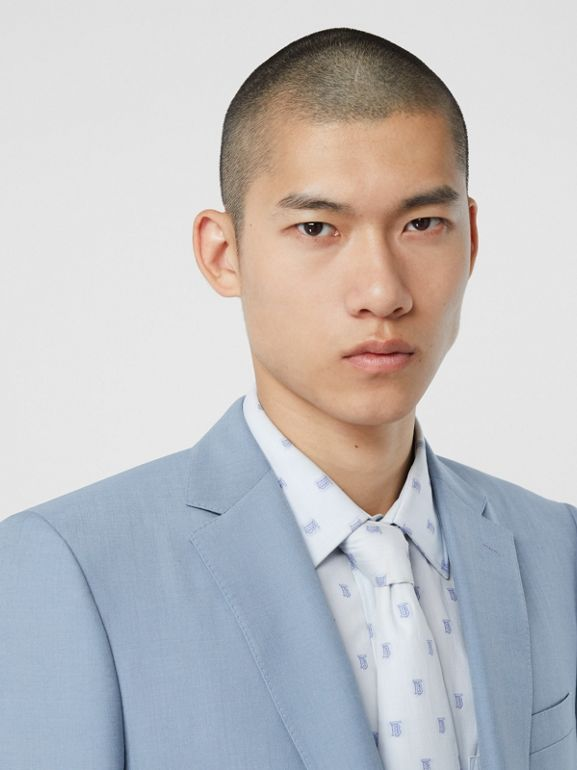 Classic Fit Wool Mohair Tailored Jacket in Pale Blue - Men | Burberry Singapore - cell image 1