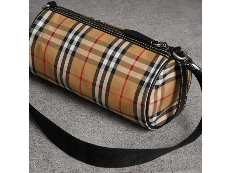 The Small Vintage Check and Leather Barrel Bag in Antique Yellow - Women | Burberry - cell image 4