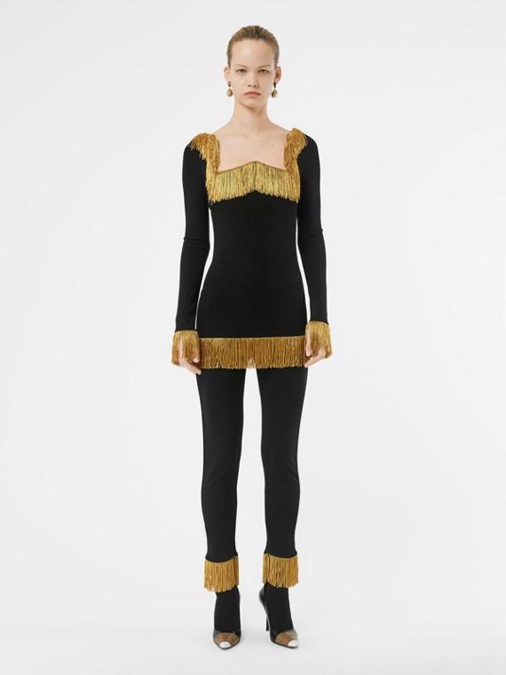 Legging en jersey extensible avec franges métallisées (Noir)