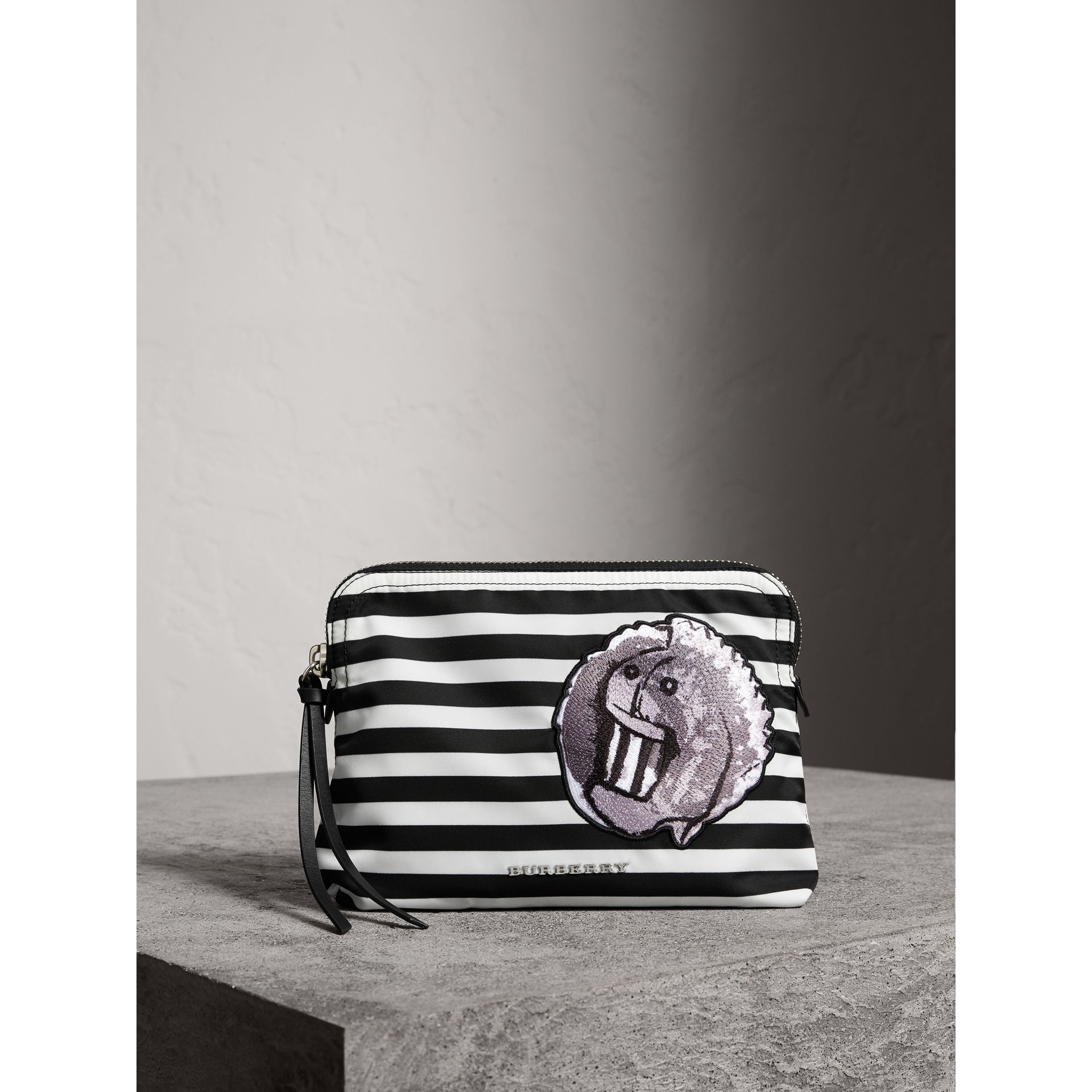 Large Striped Pouch with Pallas Heads Appliqué in Black/white - Women | Burberry - gallery image 1