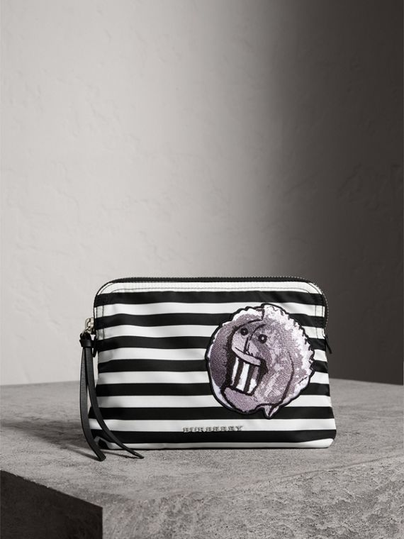 Large Striped Pouch with Pallas Heads Appliqué in Black/white