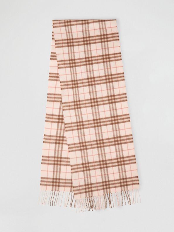 The Classic Vintage Check Cashmere Scarf in Ice Pink