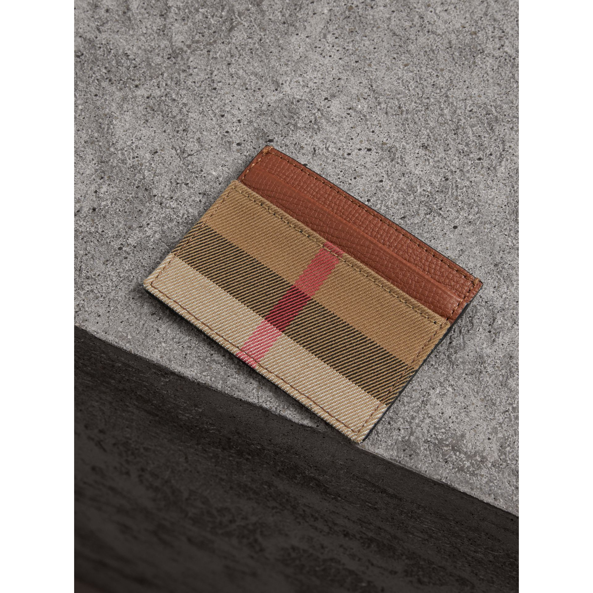 House Check and Grainy Leather Card Case in Chestnut Brown - Men | Burberry Australia - gallery image 3